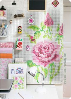 Pink & green home office decor with DIY needlepoint painted peg board for organization. How I built and painted my pegboard - by Craft & Creativity Space Crafts, Home Crafts, Arts And Crafts, Diy Crafts, Painted Pegboard, Cross Paintings, Sewing Rooms, Craft Storage, Yarn Storage