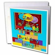 Beverly Turner Birthday Design - 2nd Choo Choo Train Birthday Party - Greeting Cards-6 Greeting Cards with envelopes by Beverly Turner Photography. $10.49. 2nd Choo Choo Train Birthday Party Greeting Card is measuring 5.5w x 5.5h. Greeting Cards are sold in sets of 6 or 12. Give these fun cards to your friends and family as gift cards, thank you notes, invitations or for any other occasion. Greeting Cards are blank inside and come with white envelopes.