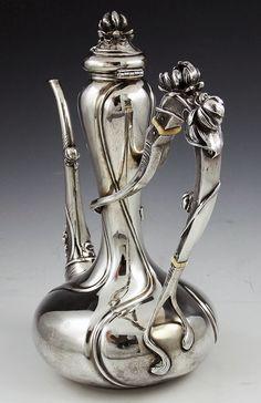 Kerr sterling antique art nouveau coffee pot with water lilies