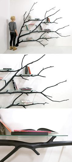 An artist found this branch lying on the side of the road, and made it into shelves Tree Bookshelf, Bookshelves, Cool Furniture, Furniture Design, Diy Home Decor, Room Decor, Branch Decor, Found Art, Home Decor Inspiration