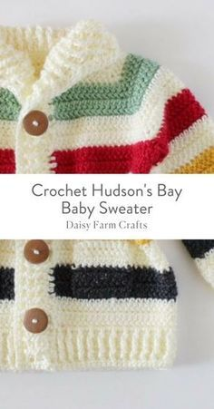 4c54288e7cc79e Free Pattern - Crochet Hudson s Bay Baby Sweater Crochet Baby Sweaters