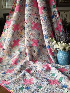 """Pretty Pink + Feedsacks! VINTAGE 30s Cottage Home QUILT 66"""" x 65"""" More"""