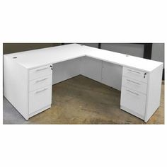 White L Shaped Rectangular Executive Desk W 6 Drawers