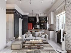 Industrial style kitchen by Aiya Lisova Design Living Room Kitchen, Living Room Modern, Living Room Designs, Living Room Decor, Living Rooms, Vintage Interior Design, Home Interior Design, Design Loft, House Design