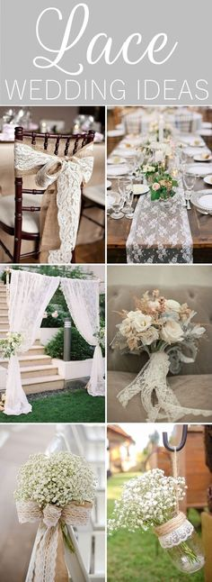 22 Lace Wedding Ideas - table runners, chair sashes, bouquets, and centerpieces. #lace #weddingideas #ChairWedding