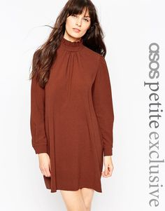 ASOS PETITE Shift Dress with High Frill Neck.  With over-the-knee suede boots.