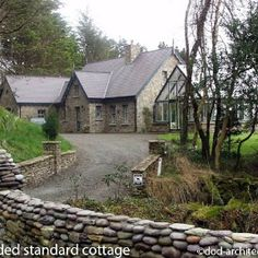 Our Standard Cottage with extensions to both sides along the shore of Bantry Bay in Ireland. Cottage House Plans, Cottage Homes, Cottage Ideas, Barn Conversion Exterior, House Designs Ireland, Stone Cottages, Irish Cottage, Ireland Homes, Cottage Design
