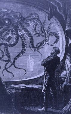 Image result for Captain Nemo sees an octopus drawing