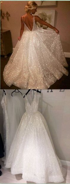 Ball Gown V-Neck Sleeveless Backless Sweep Train Wedding Dress with Sequins