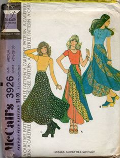 My mother had a skirt like the one in the middle.  I remember she wore it with a peasant blouse.  Peasant blouses were huge in 1970s fashion!