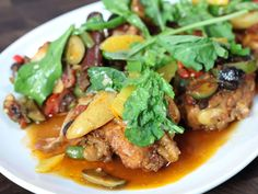 Braised Thighs, Olive, Potatoes, Chiles, Fingerlings in Tomato Broth ...