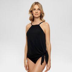 Women's Slimming Control High Neck Peplum Tankini Swim Top Black 12 - Dreamsuit