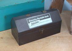 Vintage Small Metal Tool Box * Cummins Portable Tools * John Oster * Storage Box * Mid Century * Pre 1963 by 13thStreetEmporium on Etsy