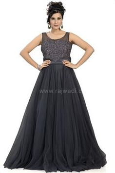 Beautiful Party Wear Grey Gown