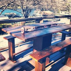 Beer trough table, salvaged metal and longleaf pine.  LumberJakeATX
