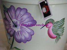 Purple Hibiscus with Hummingbird -  handpainted flower pot