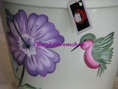 Purple Hibiscus with Hummingbird -  handpainted flower pot