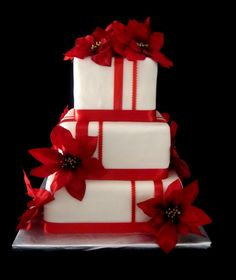 i like the design of this cake. but fondant instead of ribbon, no flowers, and the stripes red and gray