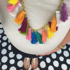 Jazzing up a simple black and white with this tassel necklace!! (via @beingmrsfowler)