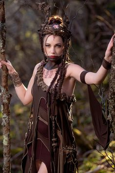 Tree Spirit Dress, Forest Queen Ensemble, Woodland Nymph Costume, Fairy Couture Outfit, Elven Cosplay in Brown Stretch Modal Custom Fit Elven Cosplay, Nymph Costume, Witch Queen, Couture Outfits, Fantasy Costumes, Warrior Princess, Playing Dress Up, Costume Design, Thing 1