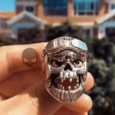 Helmest Horror Angry Crazy Skulls Solid Silver 925 Rings Jewelry Gothic Rock Punk – AN. Men's Jewelry Rings, Skull Jewelry, Wire Jewelry, Diamond Jewelry, Silver Jewelry, Jewelry Watches, Handmade Jewelry, Punk, Harley Davidson