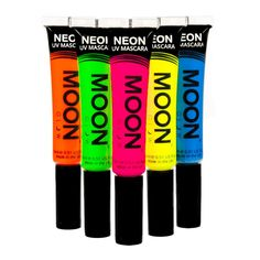 Moon Glow - Blacklight Neon Mascara 0.51oz Set of 5 colors - Glows brightly under Blacklights / UV Lighting!. Brightest Glow under Blacklight - Guaranteed!. Genuine Moon Glow branded product. Made in the United Kingdom. Bright, neon coloured in natural light, and produces an incredible glow under UV Lighting/Blacklights!. Perfect for festivals, clubbing, parties, fancy dress and anywhere with UV lighting / blacklights!. Non Toxic, Conforms to EU1223/2009.