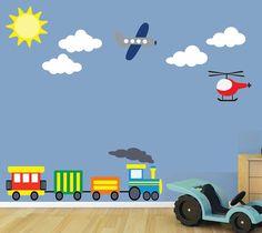 Train Airplane Wall Decal REUSABLE Childrens Wall por StudioWallArt, $85.00