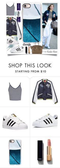 """""""Get the celeb look: Karlie Kloss 💙"""" by casetify ❤ liked on Polyvore featuring Topshop, adidas, Casetify and Chanel"""