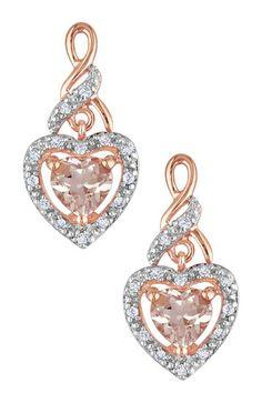 Morganite Heart & Diamond Earrings by Delmar on @HauteLook