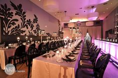 Long tables for #wedding #reception. Black and White decor. #chic
