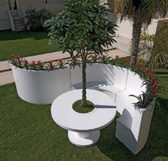 Aluminum Recycle Material For Garden Decortion: White Modern Contemporary Circular Table With Built In Tree Pot And Bench Garden Furniture Of Recycled Materials ~ cienmaneras.com Architecture Inspiration