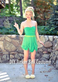 DIY Adult Tinker Bell Costume -make oversize green shirt into dress and bow band to go around waist -sparkle spray paint -tan tights -ballerina flats w/ light green socks over them with white cotton balls -sock bun for hair w/ cute feathers -tinker bell makeup -wings and wand from store/online