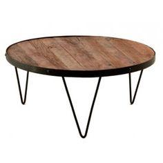 Mesa baja de madera y hierro