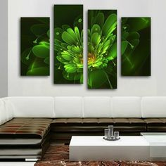 Framed Canvas Bright Green Flower Photo Large Painting Wall Art Home Decor