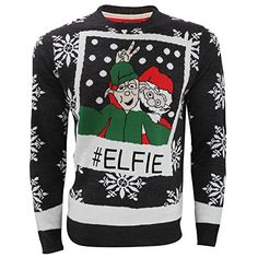 Brave Soul Mens Elf Selfie Knitted Christmas Jumper Medium GreyWhite >>> Click image to review more details.