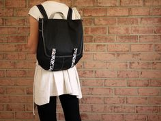 Waxed Canvas Backpack in Black- Vegan Rucksack Messenger Back to School/ Limit Offer. $188.97, via Etsy.