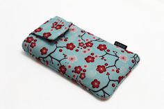 iPhone 6 or 6s Pouch, Fabric cell phone case holder - Aqua Cherry Blossom - NEW #KapomCrafts