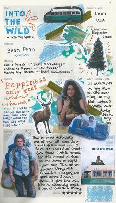 Into The Wild moleskine film journal Movie Collage, Music Journal, Films Cinema, Film Studies, Film Inspiration, Alternative Movie Posters, Film Books, Film Review, About Time Movie