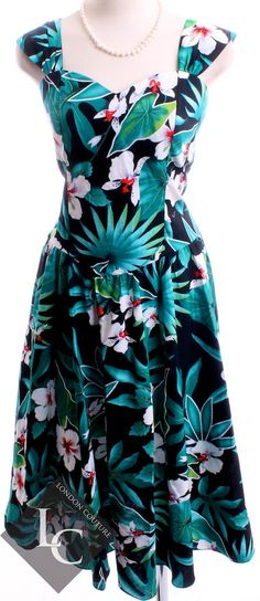 Vintage 1980's Royal Creations Made in Hawaii Teal Flower print Sleeveless Full Length Dress Sz Large