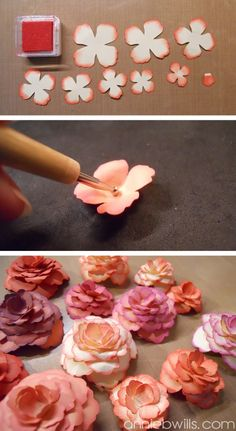 ▷ ideas on how to make paper flowers- ▷ Ideen, wie Sie Papierblumen basteln können make small flowers out of paper, cut and glue petals - How To Make Paper Flowers, Paper Flowers Diy, Paper Roses, Handmade Flowers, Flower Crafts, Diy Paper, Fabric Flowers, Paper Crafting, Papier Diy