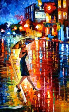 NIGHT  STROLL - PALETTE KNIFE Oil Painting On Canvas By Leonid Afremov - http://afremov.com/LATE-STROLL-1-PALETTE-KNIFE-Oil-Painting-On-Canvas-By-Leonid-Afremov-Size-24-x30-SKU19439.html?utm_source=s-pinterest&utm_medium=/afremov_usa&utm_campaign=ADD-YOUR