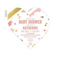Confetti Love Girl Baby Shower Invitations