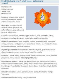 Sacral Chakra- health, ailments and yoga poses to cure ailments with sacral chakra. Chakra 2, Sacral Chakra Healing, Second Chakra, Chakra Meditation, Chakra Root, Chakra Symbols, 7 Chakras, Mind Body Spirit, Mind Body Soul