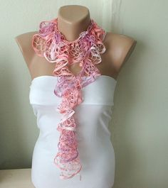 Pink Shadow Dream Color Web lace Handmade Crochet Scarf by Periay, $15.00