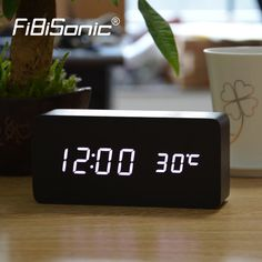 FiBiSonic Upgrade LED Jam Alarm, Suhu Kontrol Suara LED Desktop Jam Meja Digital Despertador