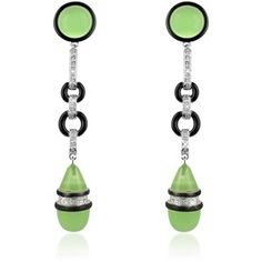 AZ Collection Designer Earrings Jade Drop Clip-On Earrings