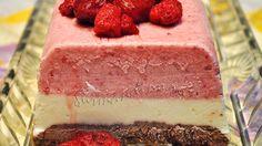 Semifreddo in trei culori, cu arome de vanilie, ciocolata si capsune sau zmeura Frozen Desserts, Parfait, Vanilla Cake, Cheesecake, Ice Cream, Healthy, Food, No Churn Ice Cream, Cheese Pies