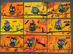 Podklad je malovaný anilinovými barvami - některé děti zapouštěly barvy. Zatímco podklad usychal, děti si připravovaly sovy. Dala jsem jim volnost - buďto vystřihnout z tvrdého černého papíru sovu a doplňky (klobouk, drápy, zobák, křídla,....) nakreslit na bílý tvrdý papír, vybarvit, vystřihnout, nalepit NEBO si celou sovu namalovat na bílý papír a celou vybarvit anilinkami, vystřihnout, nalepit. Zbytek výkresu domalovat černou barvou - pavučiny, větev, netopýry,