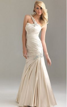 Cheap Bridal Shop 2013 Unique Exquisite Side Drape One Strap Beads Working Mermaid Prom Dress (WDPD-038)