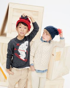 J.Crew boys' skiing yeti crewneck sweater, sun-faded chino in slim fit and snowstorm beanie. J.Crew boys' cable sweater, chambray shirt, vintage cord in slim fit and pom-pom beanie. To pre-order, call 800 261 7422 or email verypersonalstylist@jcrew.com.